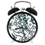 BeeTheOnly Exquisito Reloj Despertador Anchor Pin-up Girl Traje de Marinero náutico rodeado de Swall...