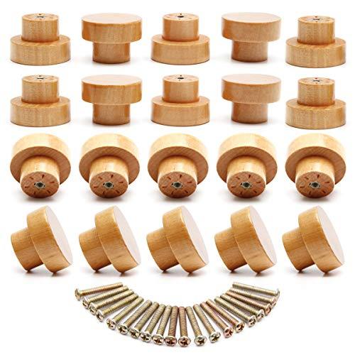 Anladia Holz Schubladengriff 20 Stück Natürliche Möbelknöpfe Wooden Handle für Schrank 45mm Möbelknauf als rund Garderobenhaken