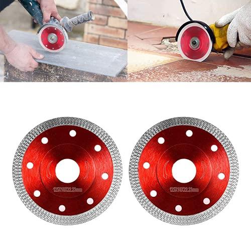 2 discos de diamante (para azulejos y materiales de construcción, Ø 125 mm, accesorios para amoladora angular)