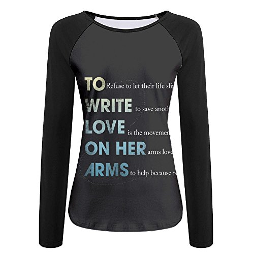to Write Love On Her Arms Women Creative Print Graphic Tee Long Sleeve T-Shirt Long-Sleeved White