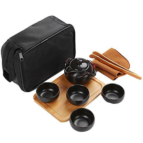 Goodbag ChineseJapanese Kungfu Tea Set - Porcelain TeapotTeacupsBamboo Tea TrayTea ClipTea Mat with a Portable Travel Bag 9PCS