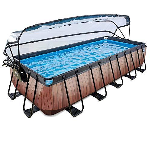 EXIT Pool Wood 540x250cm mit Abdeckung und Sandfilterpumpe - braun