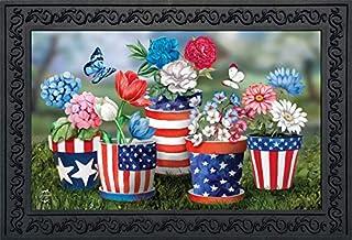 """Briarwood Lane America in Bloom Summer Doormat Patriotic Flowers Indoor Outdoor 18"""" x 30"""""""