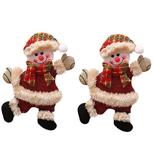Ansenesna Anhänger Weihnachten Deko Figuren Weihnachtsanhänger Bär Weihnachtsmann Schneemann Elch Christbaumschmuck (Schneemann 2PC)