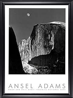 Moon and Half Dome Yosemite Ansel Adams 24x40 Gallery Quality Framed Art Print Nature Photography