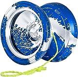 RENFEIYUAN Professionnel Yoyo M002 April Insective Yoyo Metal Yoyo, en Alliage d'aluminium, avec roulement T Central, 5 Cordes, Gant, étui yoyo Professionnel (Color : Blue Silver)