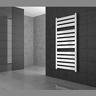 ECD Germany Radiador toallero de baño - 500 x 950 mm - Blanco - 328W - Radiador calefactor de baño - Radiador calentador y secador de toallas - Radiador toallero de pared - Incluye kit de montaje