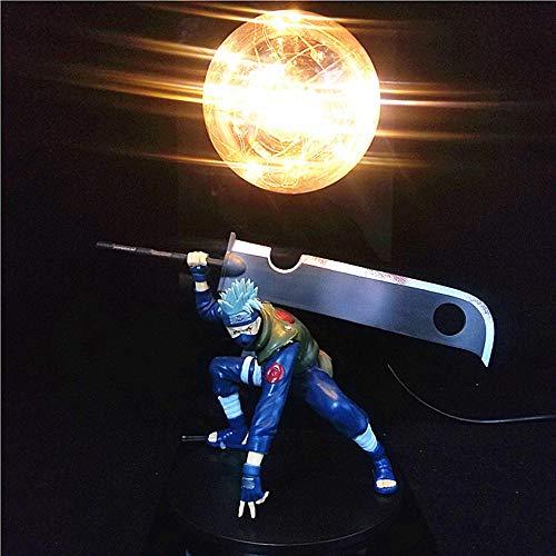 2 en 1 Anime Naruto Figura Lámpara de luz Naruto Kakashi Uchiha Itachi Sasuke Madara Luces de noche LED creativas Lámpara de escritorio Modelo Juguetes Figura Estatua Decoración de la habitación