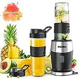Blender Smoothies, FOCHEA Mixeur Blender 500W, 2 Bouteilles Portables de 570ml pour Milk-Shake, Jus de Fruits, Cocktails et Légumes, Tritan Sans BPA