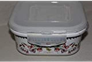Portmeirion Botanic Garden Square Ceramic Storage Jar with Lock Lid, 7.9 Inch