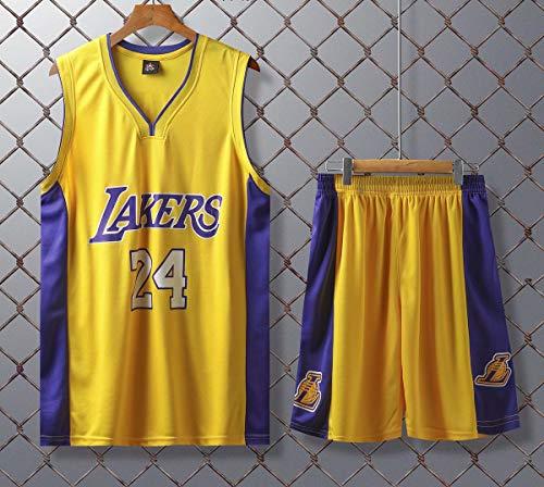 JX-PEP Basketball Uniformen Lakers # 24 Kobe Bryant Retro Basketball Sommer Trikots Fan Shirt-Weste-Sleeveless Sportkleidung Breathable Sport Uniformen,Gelb,XXXXXL