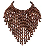 Coiris Boho African Wooden Beaded Bib Statement Necklace Strands Layered Cluster Chunky Collar Choker Wood Necklace for Women Fashion Costume Jewelry(N0065-Brwon)