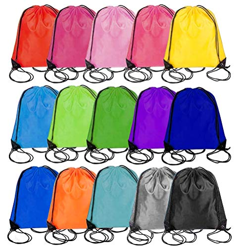 15 Drawstring Bags Backpack - Party Gift Bags & Sports String Bag for Gym,...