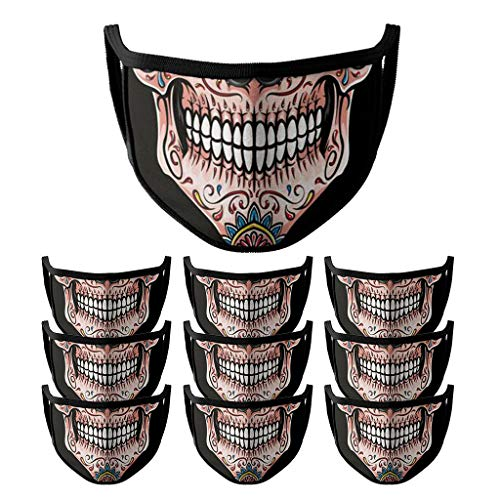 10Pcs Adults Halloween Face Cover Washable 2-Ply 3D Printing Face Bandanas Protection Reusable and Breathable Face M,Windproof and DustFog Mask with Elastic Rope,for Outdoor(5 Styles)