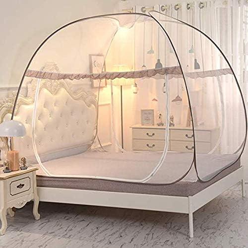 Pop Up Tente en Moustiquaire, en Plein Air Yourte Mongole Double Porte Pliable avec Anti Moustiques en Bas pour Lit Camping Voyage Maison en Plein Air,1,180  200  165cm