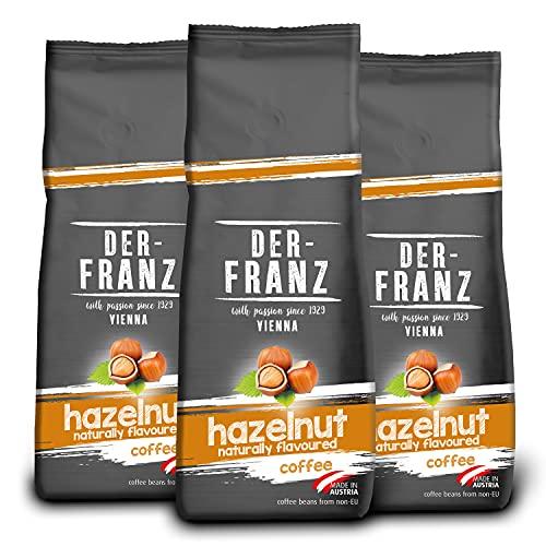 Der-Franz Kaffee, Mischung aus Arabica und Robusta, geröstet, ganze Bohne aromatisiert mit natürlicher Haselnuss UTZ, 3x500g