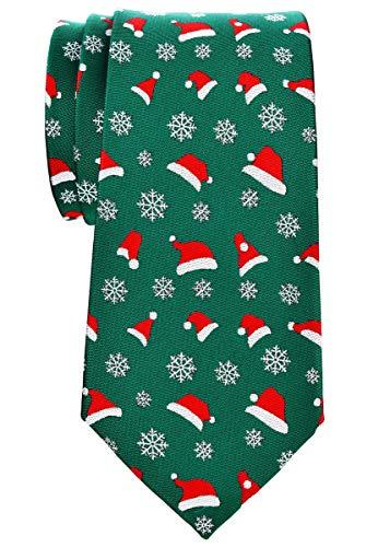Retreez Christmas Santa Hat and Snowflakes Pattern Woven Microfiber 3.15' Men's Tie - Green