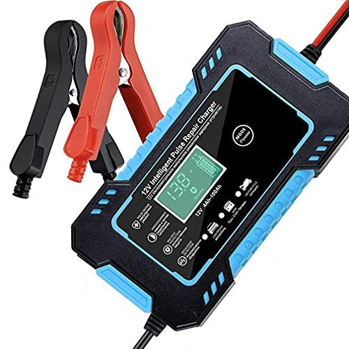 Deliu Cargador de batería de Coche 12V 6A Reparación de Pulso para automóvil Carga rápida de energía Batería Seca húmeda Pantalla LCD Digital Azul UE