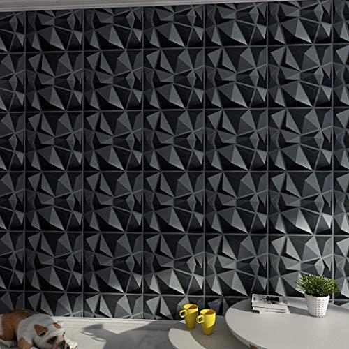 """Art3d 3D Paneling Textured 3D Wall Design, Black Diamond, 19.7"""" x 19.7"""" (12 Pack)"""