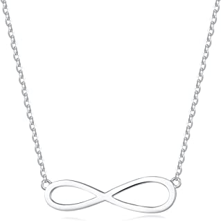 18K Yellow/White Gold Plated 925 Sterling Silver Infinity Dainty Pendant Necklace for Women Girls with 15.75