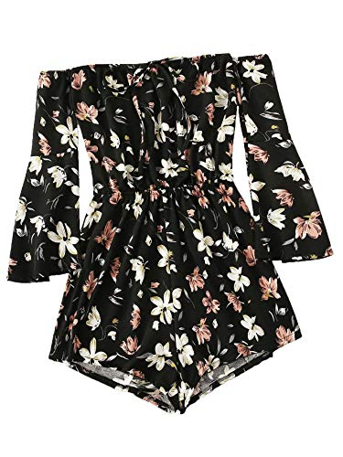 MakeMeChic Women's Casual Floral Print One Piece Knot Front Off Shoulder Romper Playsuit (Medium, Multi-1)