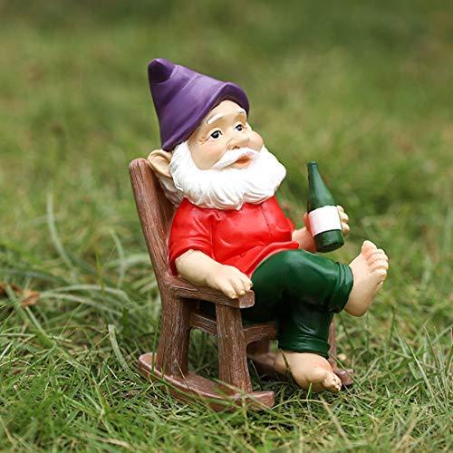 HUIGE Garden Gnome Statue, Resin Dwarf Outdoor Ornaments, Lawn Gnome on Rocking Chair Goblin Flower Pot Elf Garden Decor Gift