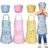 Syhood 6 Piezas Set de Delantales Sombreros de Chef de Niños Delantales Ajustables de Cocina de Dibujos Animados de Chef con Bolsillos y Gorros de Cocina para Niños de 3-5 Años (Estilo Conejo)