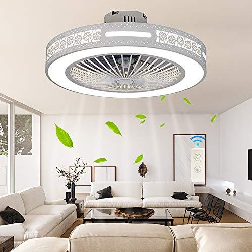 Ventilador De Techo Moderno 36W Luz De Techo Creativa Lámpara De Techo Ventilador De Luz LED Regulable Con Iluminación Y Control Remoto Dormitorio Jardín De Infantes Candelabro Silencioso (55 * 20Cm)