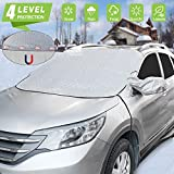 Car Windshield Snow Cover, Waterproof Car Snow Ice Cover with Magnetic Edges/Elastic Hooks and Side Mirror Covers, Thicker Winter Frost Guard Wiper Snow Protector (for Vehicle Front Windshield)