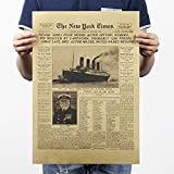 Deco Space Vintage Retro Kraft Paper Poster - Titanic Sinks Newspaper Theme - Creative Unframed Indoor Art Wall Decoration 51 x 35 cm / 20 x 13.8 inches