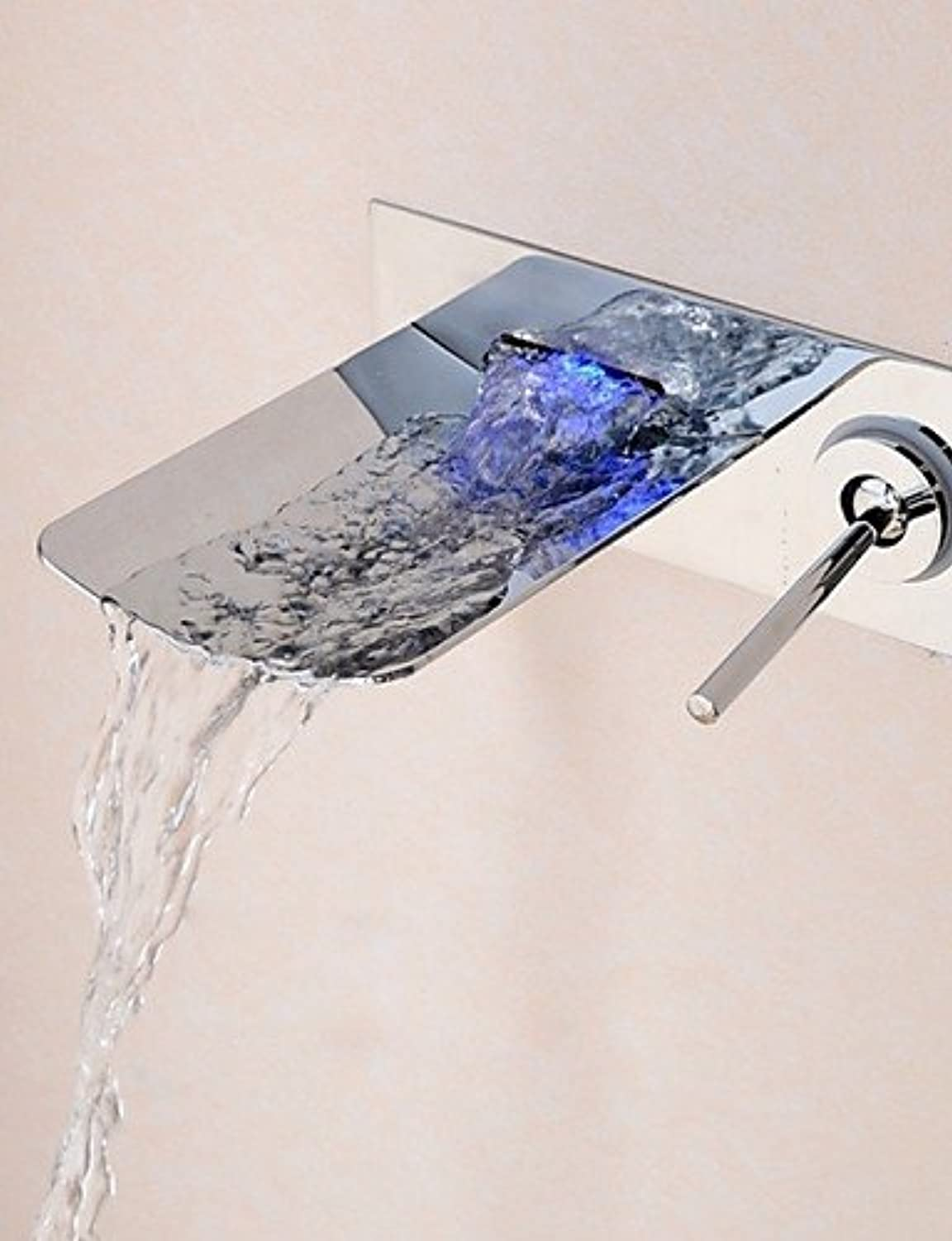 ZHANGYONG Bathroom Chrome Finish Wall Mounted LED Light Waterfall Basin Faucet