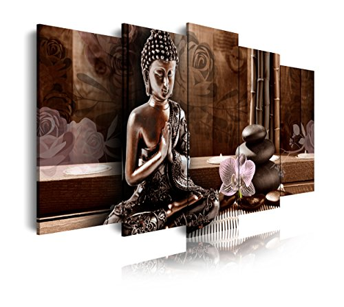 DekoArte 424 - Cuadros Modernos Impresión de Imagen Artística Digitalizada | Lienzo Decorativo para Salón o Dormitorio | Estilo Zen Feng Shui con Buda Meditando en Tonos Bronces | 5 Piezas 150x80cm