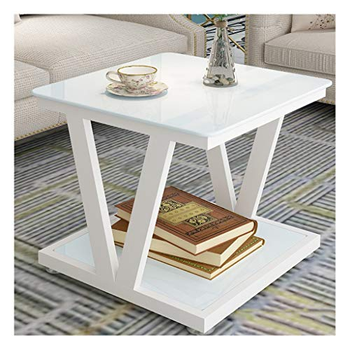 zlw-shop Sofa Table for Living Room Small Balcony Coffee Table Metal Material Simple Modern Home Sofa Side Table Living Room Square Tempered Glass Tea Table End Table (Color : D)