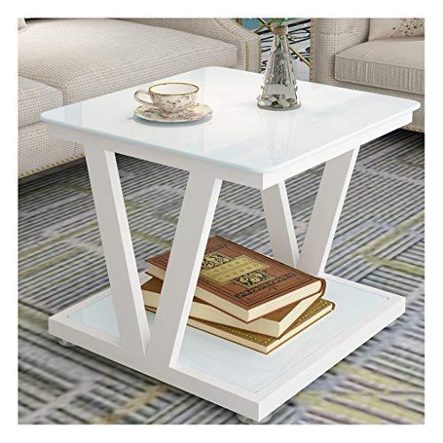 LJXLXY Mesa de café Pequeño balcón Mesa de Centro Material Material Material Simple Moderno Sofá Sofá Mesa de Estar Sala de Estar Cuadrado Mesa de té de Vidrio Templado End Tables (Color : D)