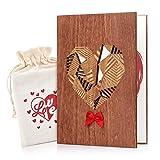 Giiffu Biglietto Auguri di legno, Biglietto d'Auguri, con una scatola e una borsa regalo uniche - per Anniversario, San Valentino, Matrimonio e Occasioni Speciali