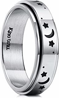 King Will 6mm Silver Stainless Steel Ring Spining Ring Moon Star Fashion Wedding Ring For Men Women