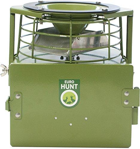 EUROHUNT Futterautomat PRO 12V, Automat für Tierfütterung, wetterfest, Wildfutterautomat, 22,5 x 20,5 x 18 cm, grün
