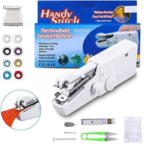 Máquina de coser de mano, 18 piezas mini máquina de coser portátil, mini máquina de coser portátil inalámbrica para tela, ropa, cortinas, uso de viaje en casa, bricolaje