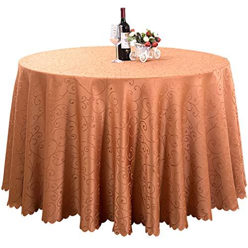 Dooxii Hotel Restaurant Hochzeit Jacquard Tischdecke Einfarbig Tischtuch Party Dekoration (Kaffee, 320cm (Runden))