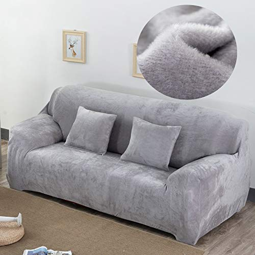 Love+djl+Copridivano, Peluche Tessuto Sofa Cover Velluto Panno Spesso Slipcovers Tenere in Caldo copridivani Funiture Protector Poliestere Antipolvere Solid Grey (Color : A, Size : Pillowcase 2pc)
