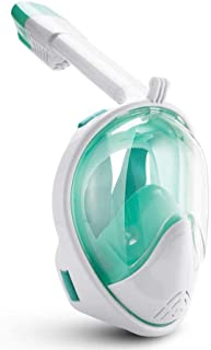 BFULL Snorkel Mask Full Face 180 Degree Panoramic Anti-Fog Snorkeling Mask w/Action Camera Mount Soft Adjustable Head Straps - White Green- Large