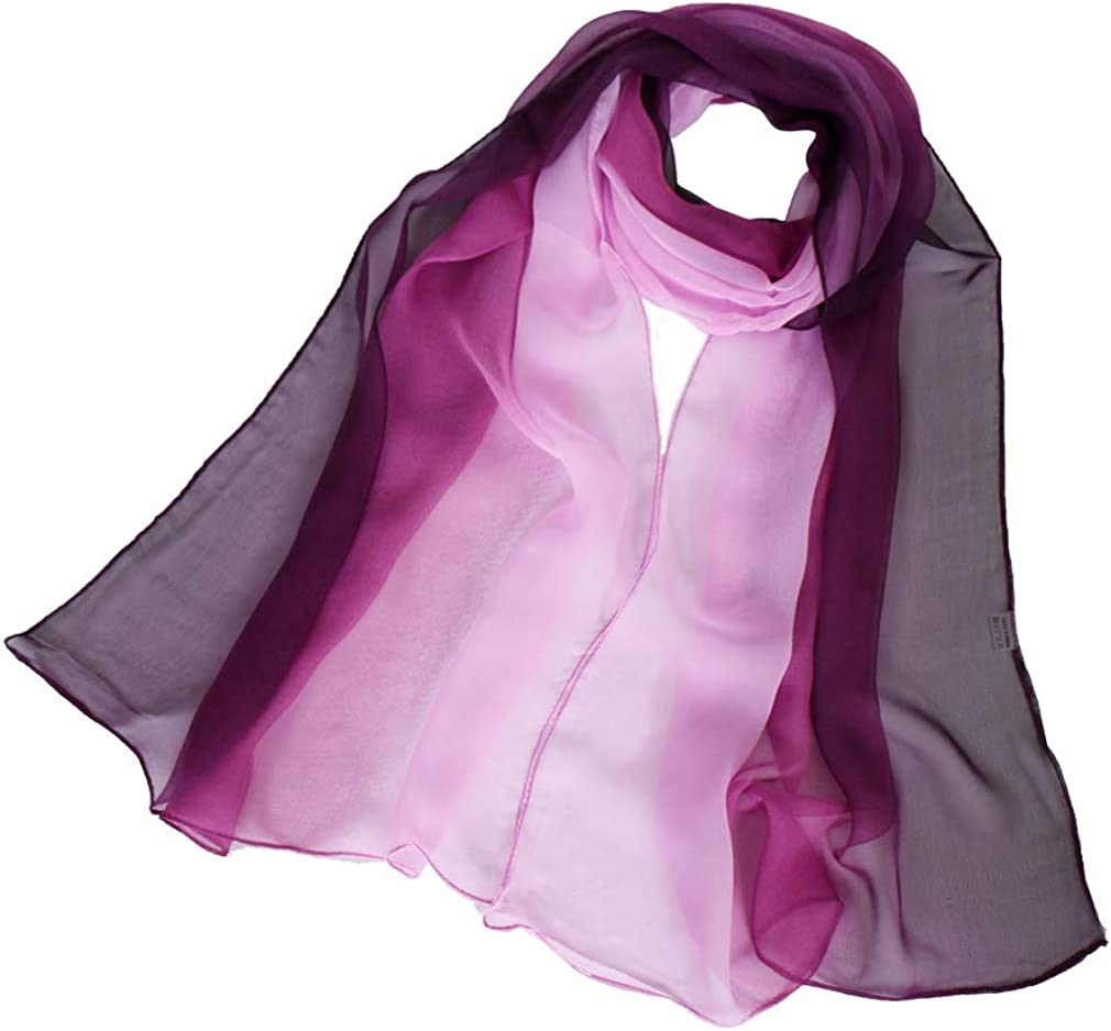 LMVERNA Women's Blend Ombre Silk Scarf Lightweight Oblong Gradiente Scarves