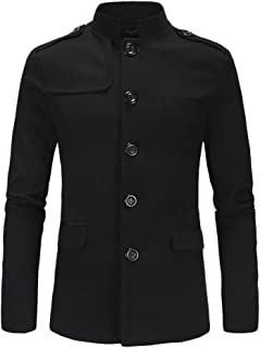 ZongSen Men's Tunic Suit Blazer Slim Fit Coat Casual Single Breasted Stylish Business Jacket