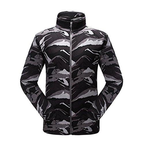emansmoer Homme Camo Thermique Veste Polaire Full Zip Col Montant Manches Longues Veste Outdoor Bodywarmer Manteau (X-Large, Gris)