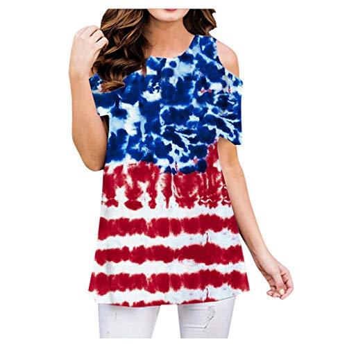 TAMALLU Women Tie-dye Print Gradient Crop Tops Beach Cute Short Sleeve Vacation T-Shirt(Blue,2XL)