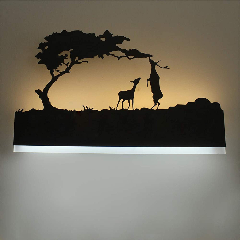 HLGY Geführte Hintergrund-Wand-kreative Nachttisch-wandlampe - Verwendbar Für Wohnzimmer-treppen-Hotel-Schlafzimmer-wandlampe, Etc,twodeer,TriFarbelight