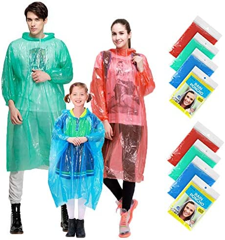Rain Ponchos Family Pack 8 Pack Disposable Extra Thick Emergency Rain Ponchos Fits Adults and product image