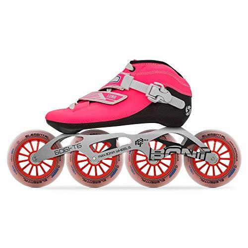 Bont Skates | Inline Speed Skating Racing Package | Luna Skate Boot + 2PF 6061 Frame + Elemental 110mm Wheels + ABEC5 Bearings | Carbon Fiber Composite Fully Heat Moldable Vegan (Pink, 38/6)