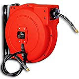 REELWORKS Air-Hose-Reel Retractable 1/4' Inch x 33' Feet Premium Water Flex Hybrid Polymer Hose Max 180 PSI Heavy Duty Polypropylene Case Construction Industrial Spring Driven