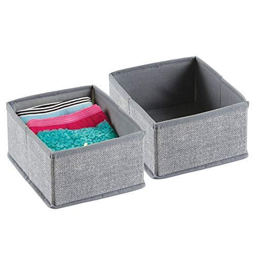 mDesign – Juego de 2 cajas organizadoras de tela – Preciosos organizadores para cajones y cómodas – Cestas para ordenar accesorios, bisutería y ropa interior – Color gris